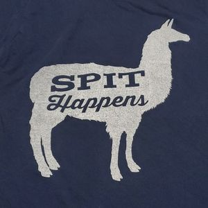 "Alpaca ""Spit happens"" Gilden womens small teeshirt"